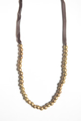 recycled leather and bullet casing necklace brass | Fair Anita