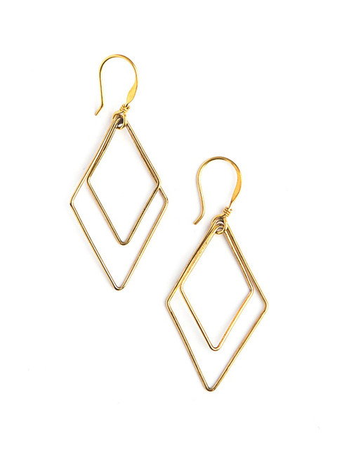 Lightweight dangle earrings in brass | Fair Anita