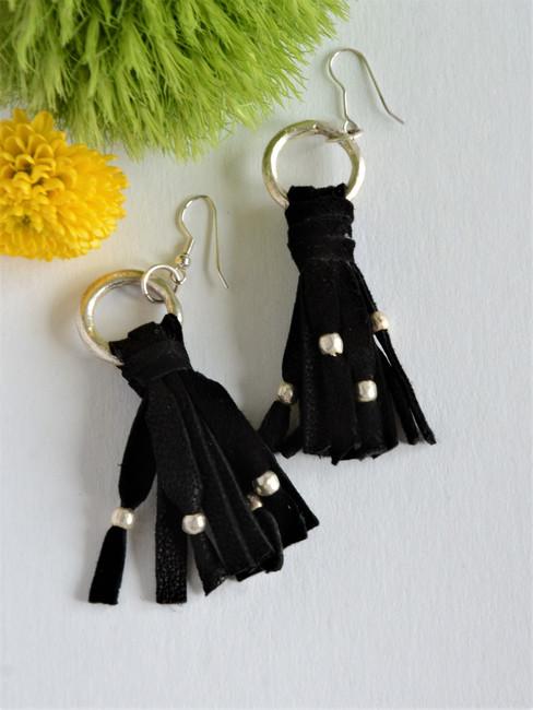 Black tassel and recycled bullet casing earrings | Fair Anita