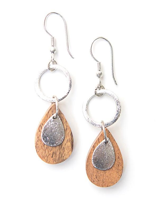 Wooden Teardrop Dangle Earrings - Silver