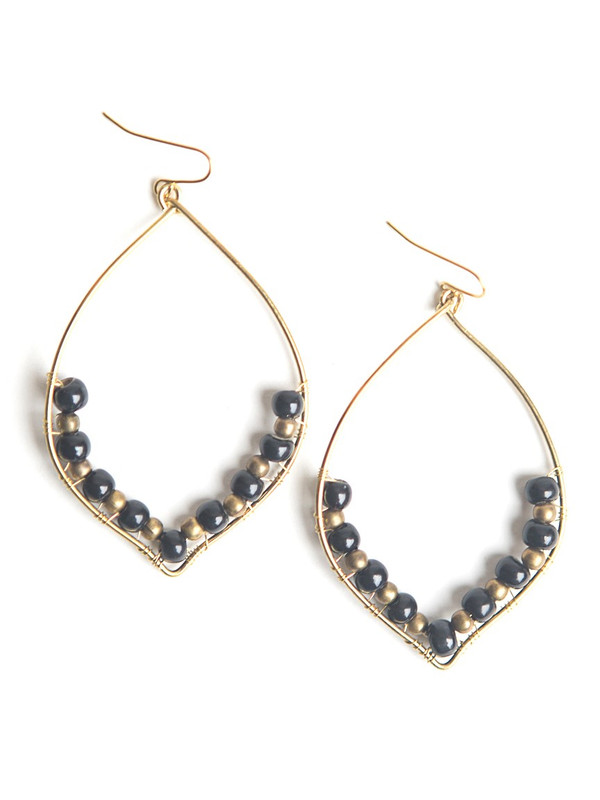 Black Cactus Ceramic Earrings