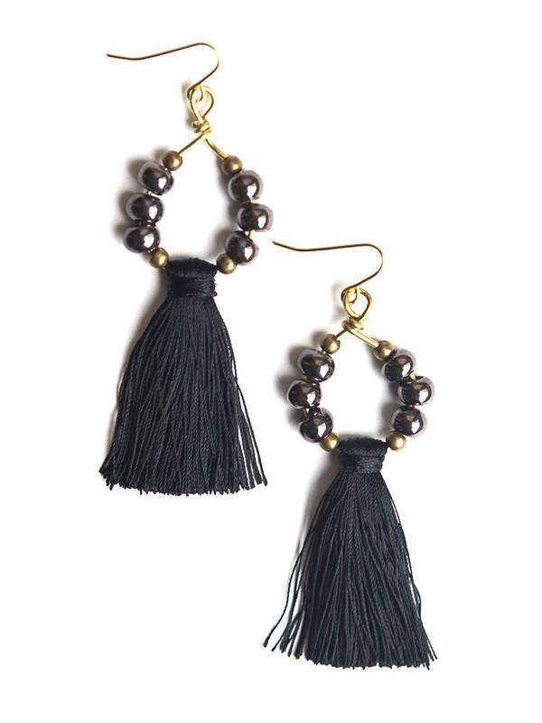 Metallic Ceramic Tassel Earrings