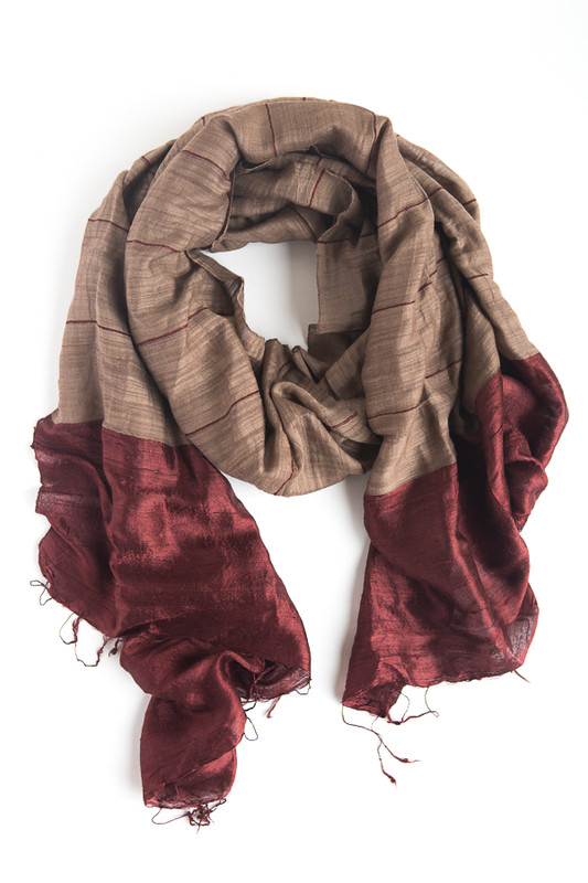 Silk Dipped Handwoven Scarf - Wine