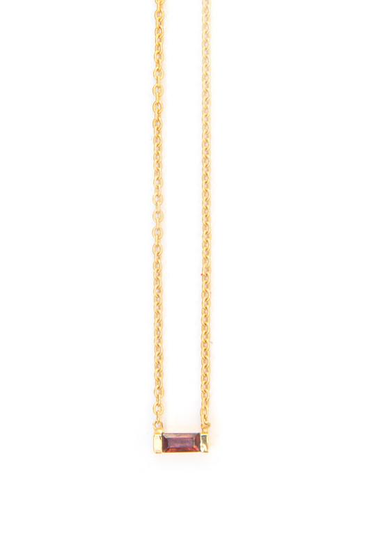 Prism Brass Necklace - Garnet