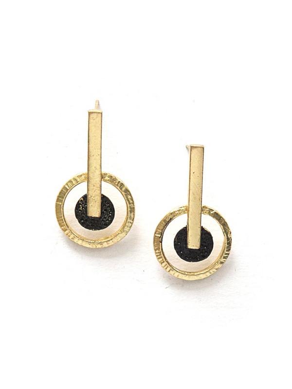 Destination Brass Stud Earrings