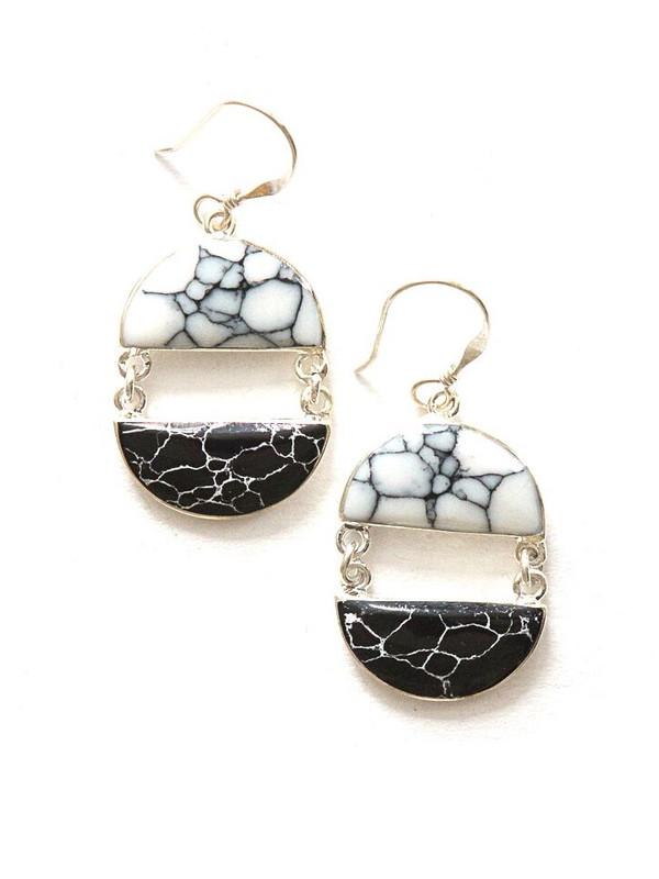 Balance Black and White Stone Earrings