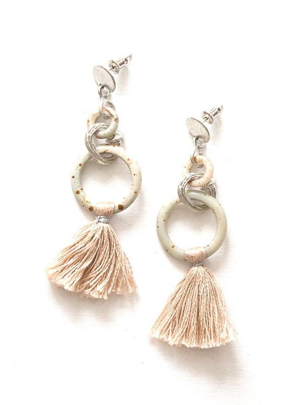 Blush Bone Tassel Earrings