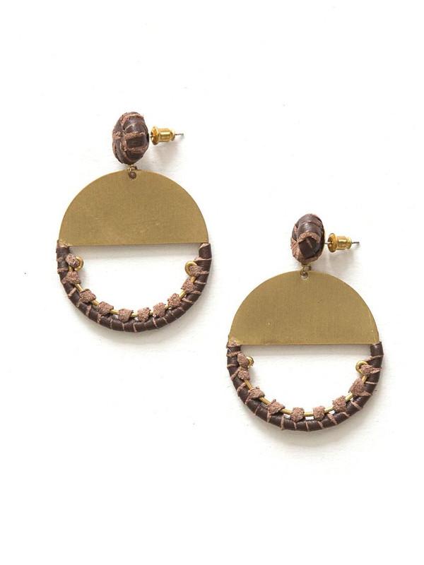 New Horizon Leather Earrings - Brass