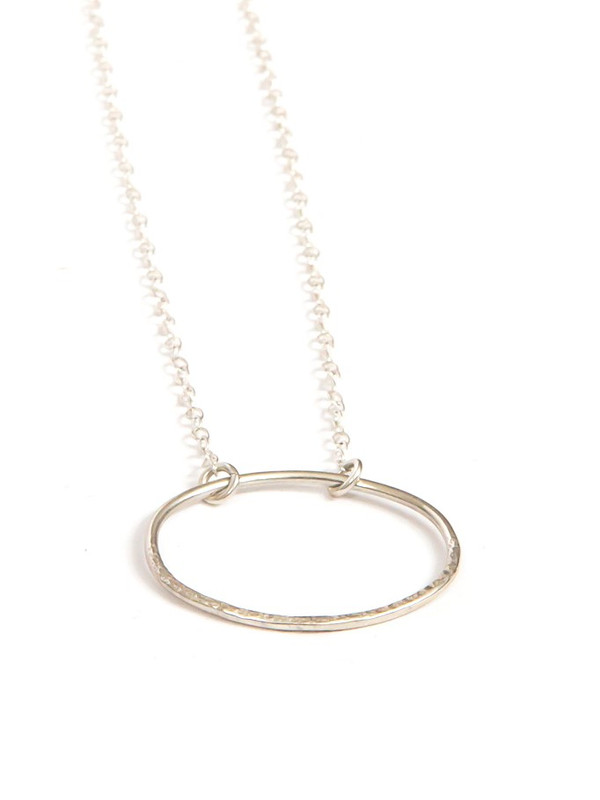 Oval Simplicity Textured Sterling Necklace