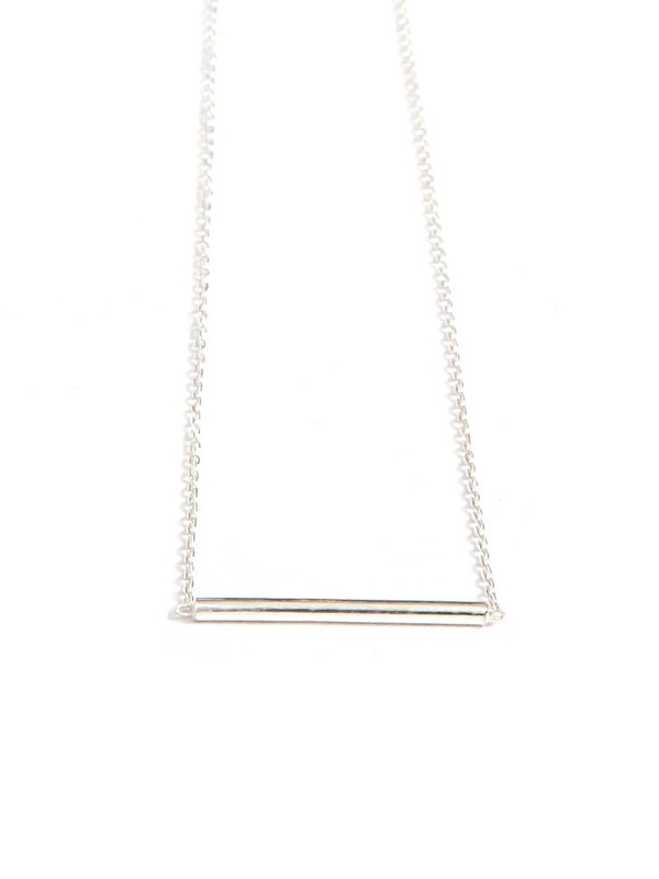 Dainty Tube Bar Necklace - Sterling Silver