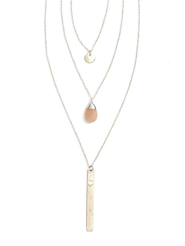 Triple Strand Multi-Way Pendant Necklace - Silver