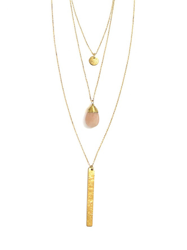 Triple Strand Multi-Way Pendant Necklace - Brass