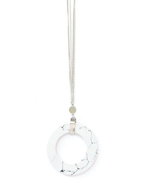 Rounded Marble Necklace - Silver