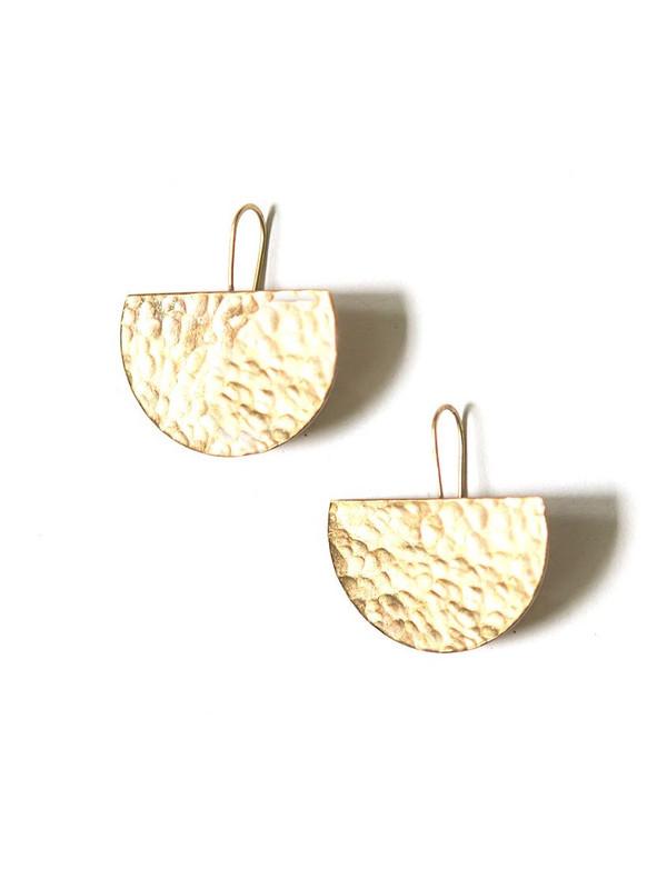 Luna Hammered Earrings - Brass