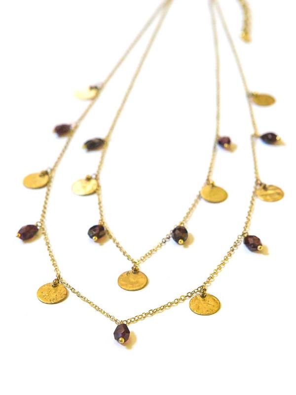 Sprinkled Garnet Brass Necklace
