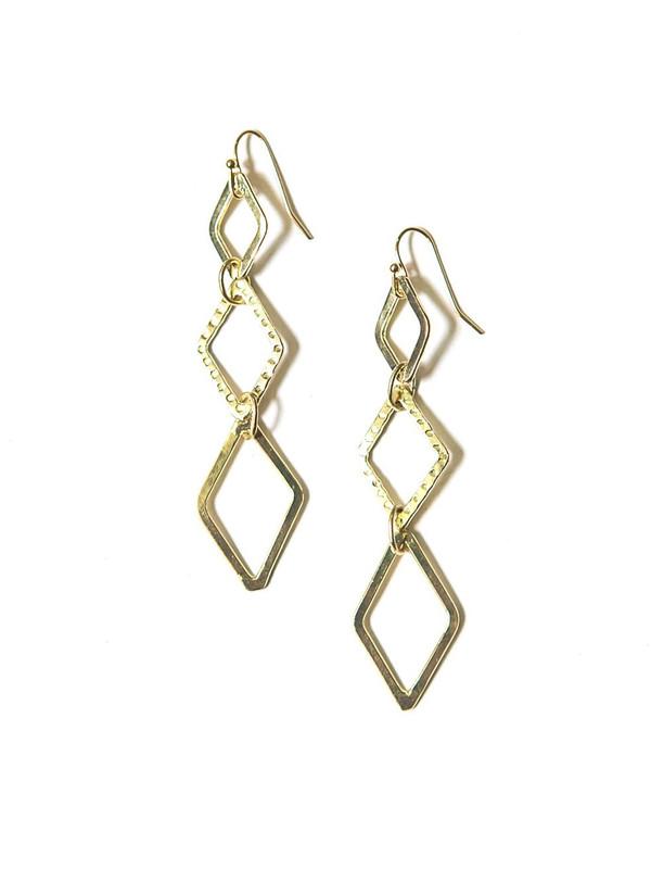 Diamond Drop Earrings - Brass