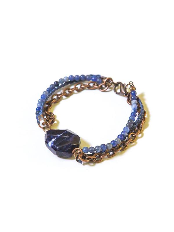 Hues of Blue Sodalite Copper Bracelet