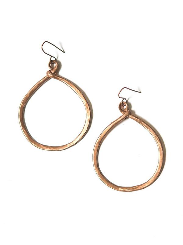 Terracotta Hammered Copper Loop Earrings