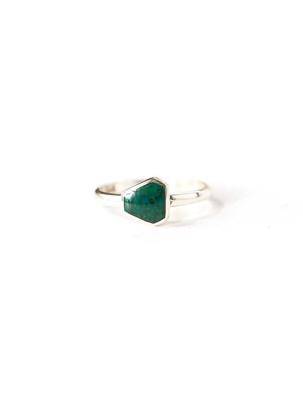 Geometric Stone Sterling Ring - Sea Green Chrysocolla