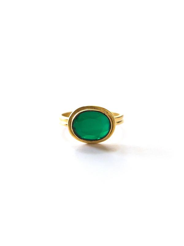 Deep Sea Brass Ring - Green Onyx