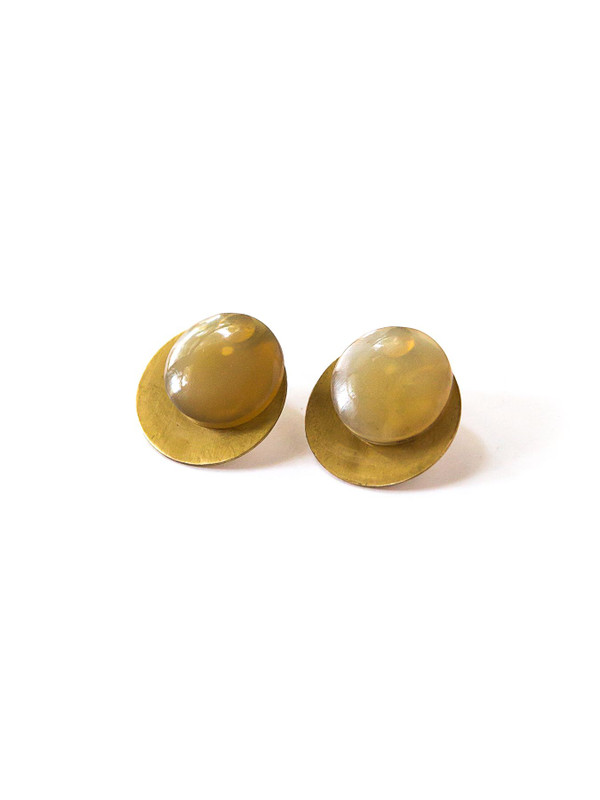 Horn Disc Ear Jacket Studs