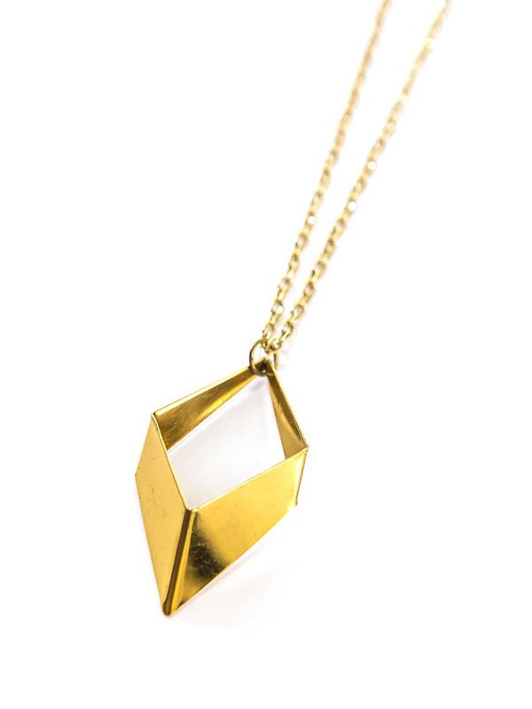 Geometric Rhombus Necklace - Brass