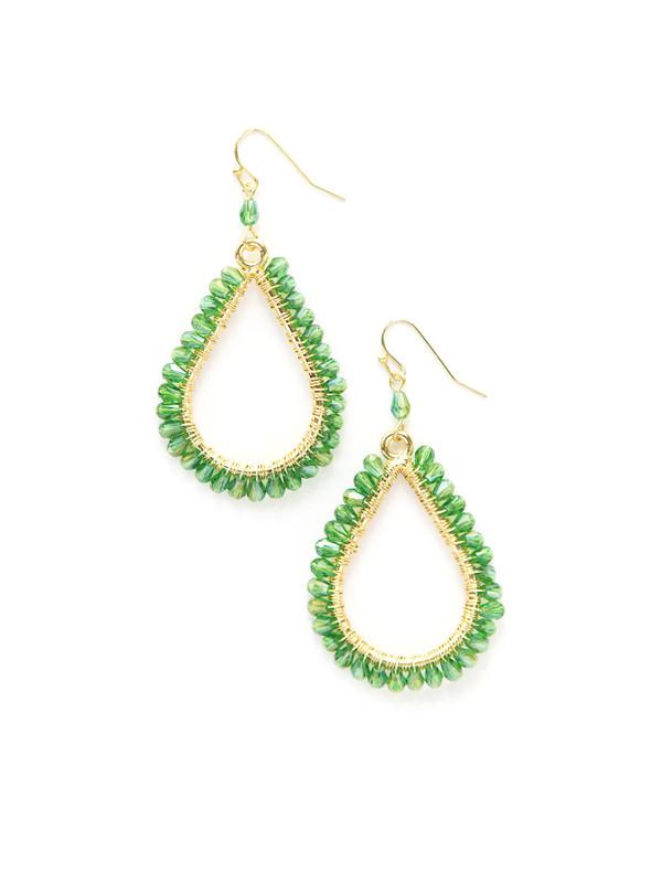 Lagoon Glass Earrings - Brass