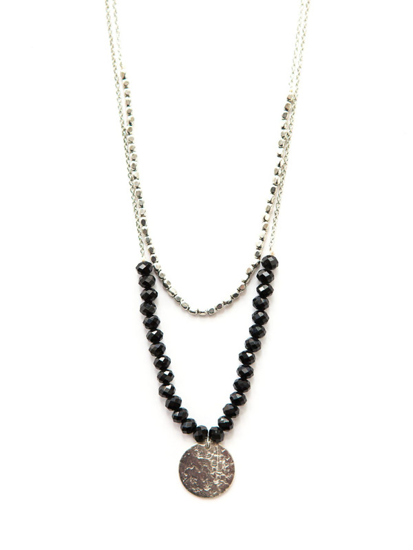 Black Beaded Convertible Necklace - Silver