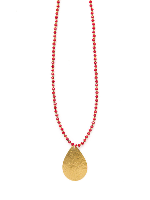 Red Beaded Pendant Necklace - Brass