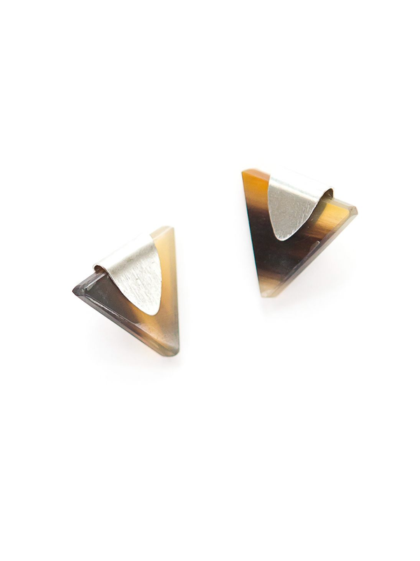 Triangle Horn Studs - Silver