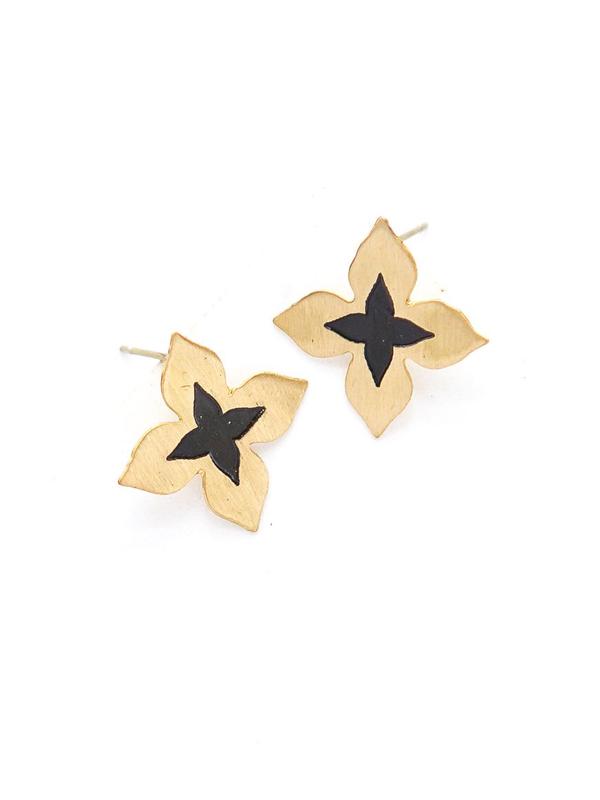 Wildflower Stud Earrings - Brass