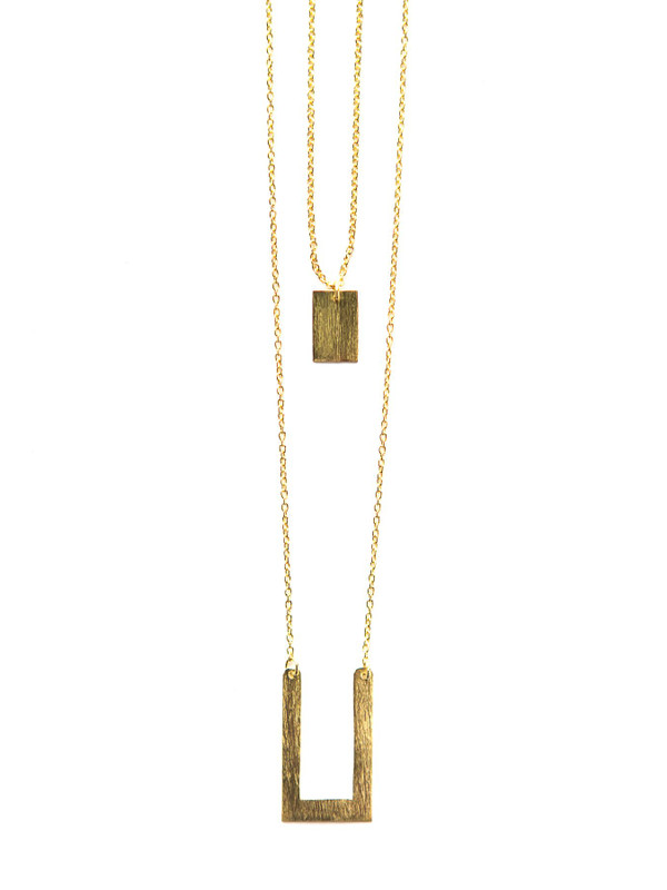Tetris Geometric Double Strand Necklace - Brass