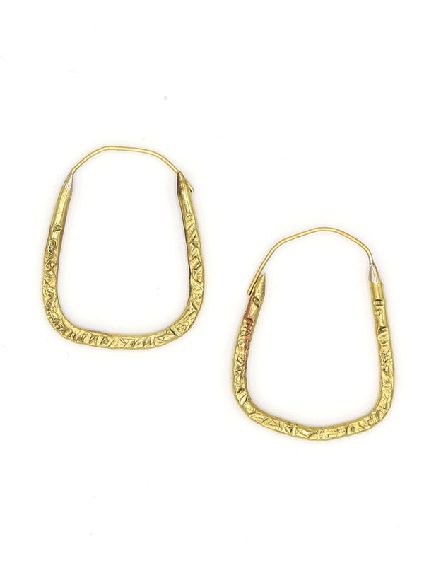Hammered Square Hoop Earrings