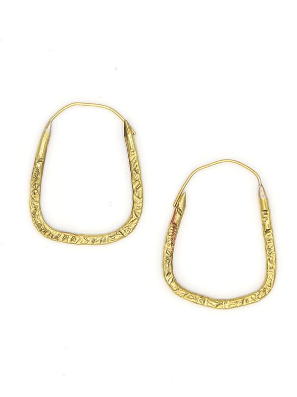 Hammered Square Hoop Earrings
