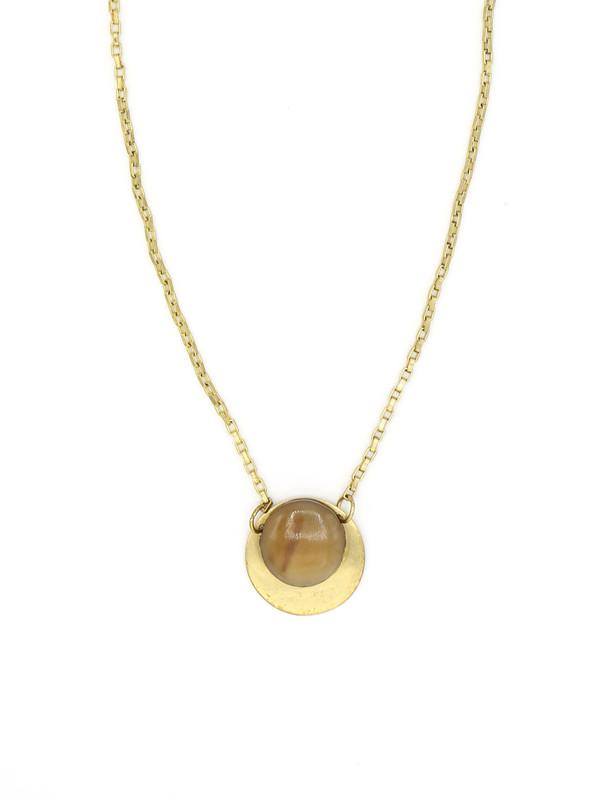 Horn Disc Brass Necklace