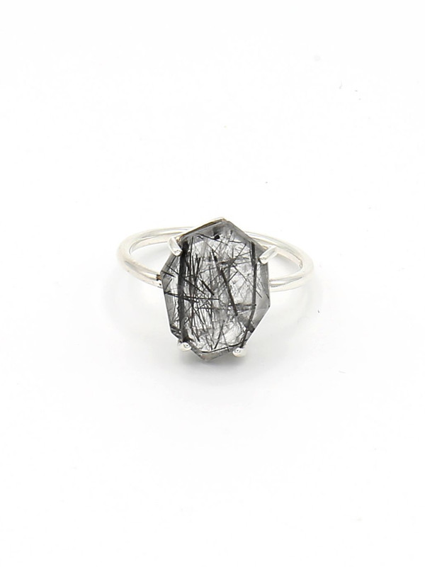 Organic Cut Sterling Ring - Rutile Quartz