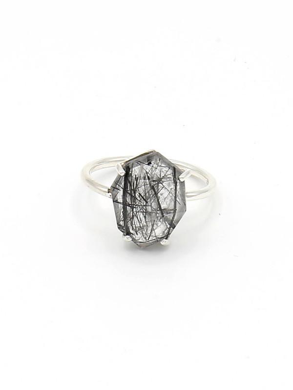 Organic Cut Sterling Ring - Rutile Quartz