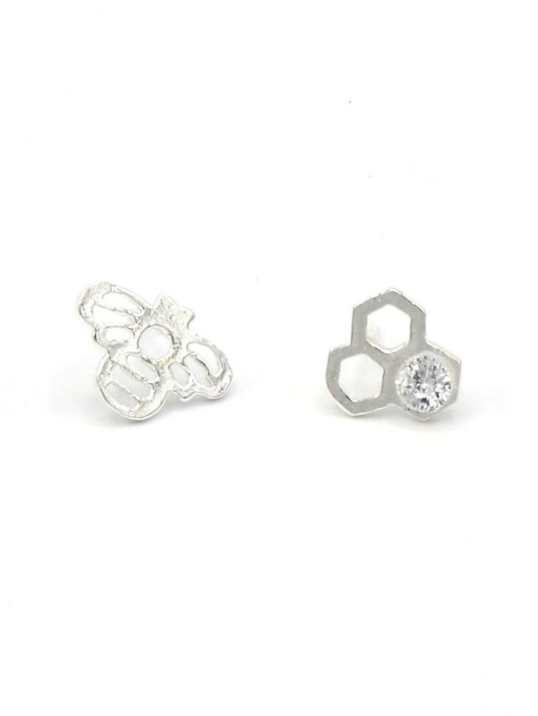 Honeycomb Studs - Silver