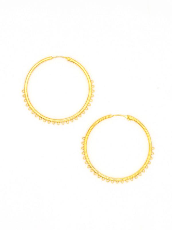 Spike Hoop Earrings - Brass