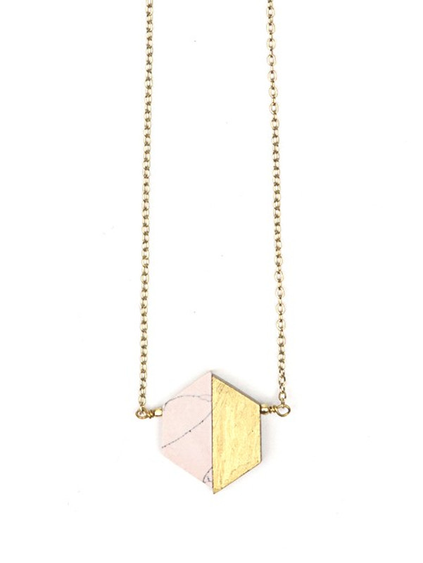 Balanced Geometry Necklace - Pink