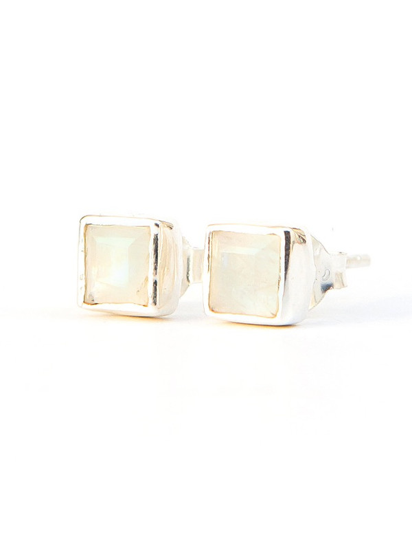 Crystal Waters Sterling Studs - Moonstone