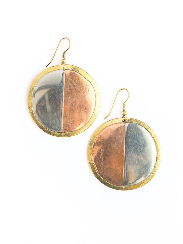 Tri-Color Plate Earrings