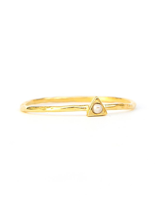 Tiny Triangle Gold Ring - Pearl