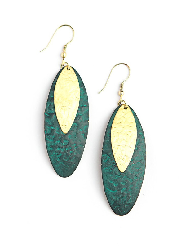 Oblong Leaf Earrings - Teal