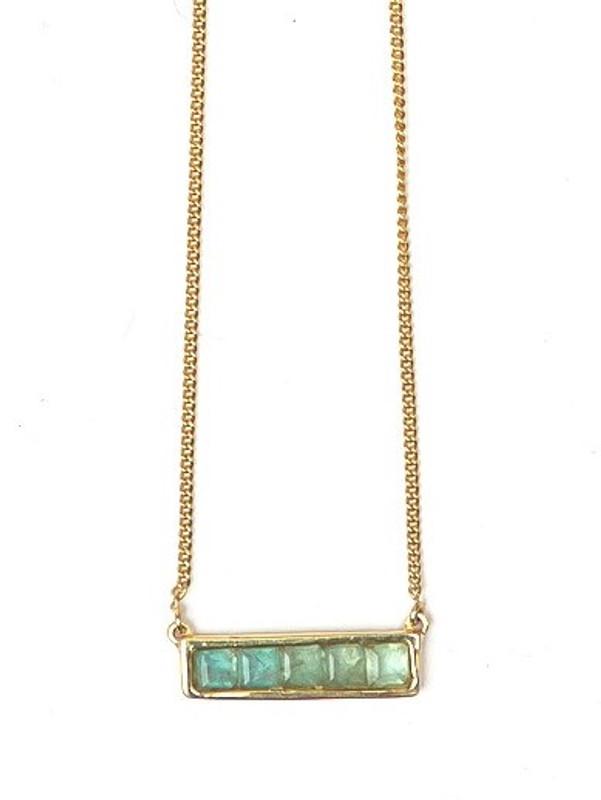 Multistone Bar Necklace - Apatite