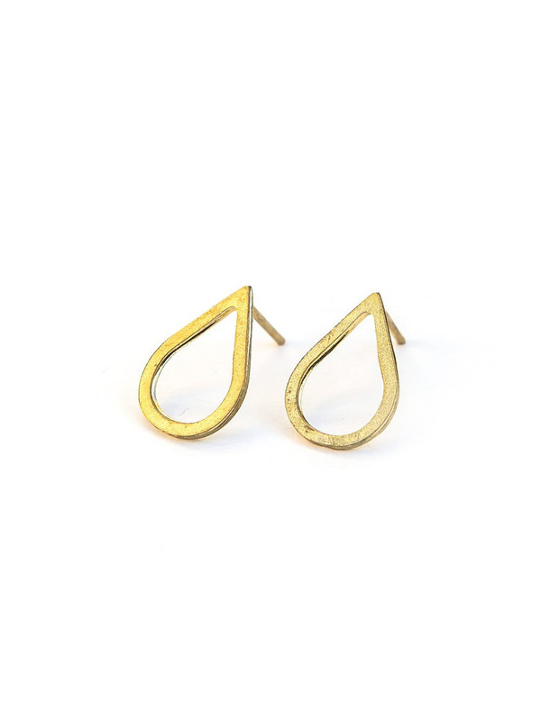 Petal Stud Earrings - Brass