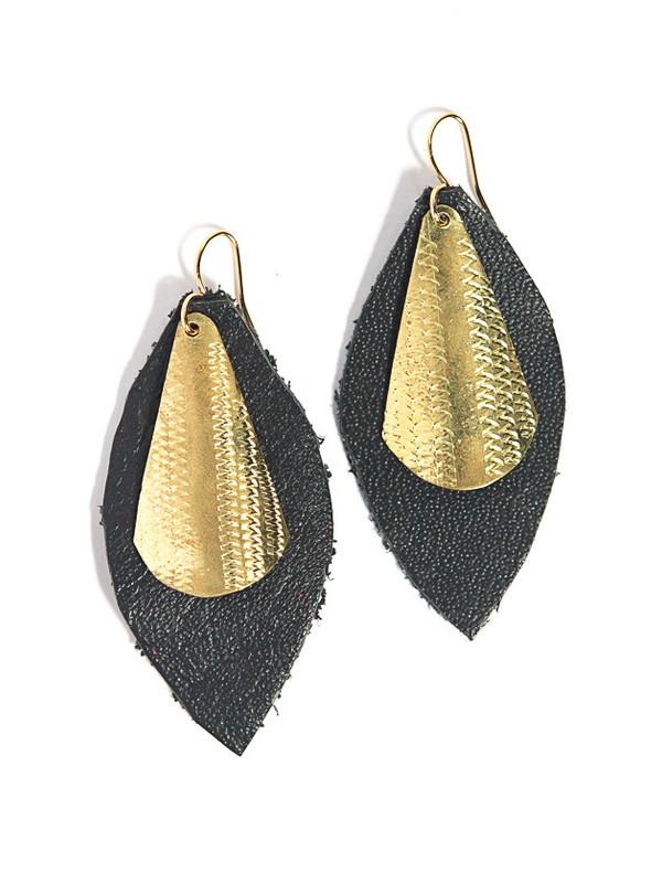 Artillery Shield Earrings - Brass