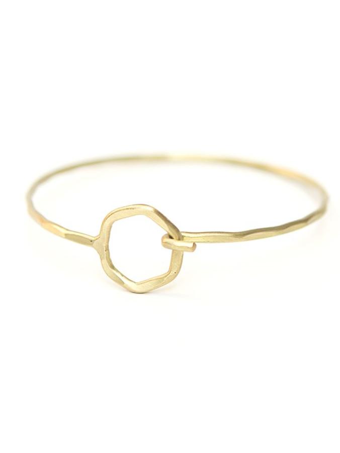 Hexagon Clasp Hammered Bracelet - Brass