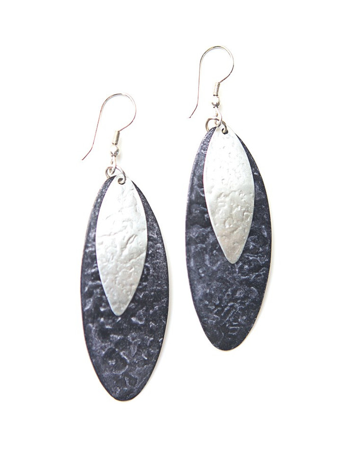 Oblong Leaf Earrings - Purple