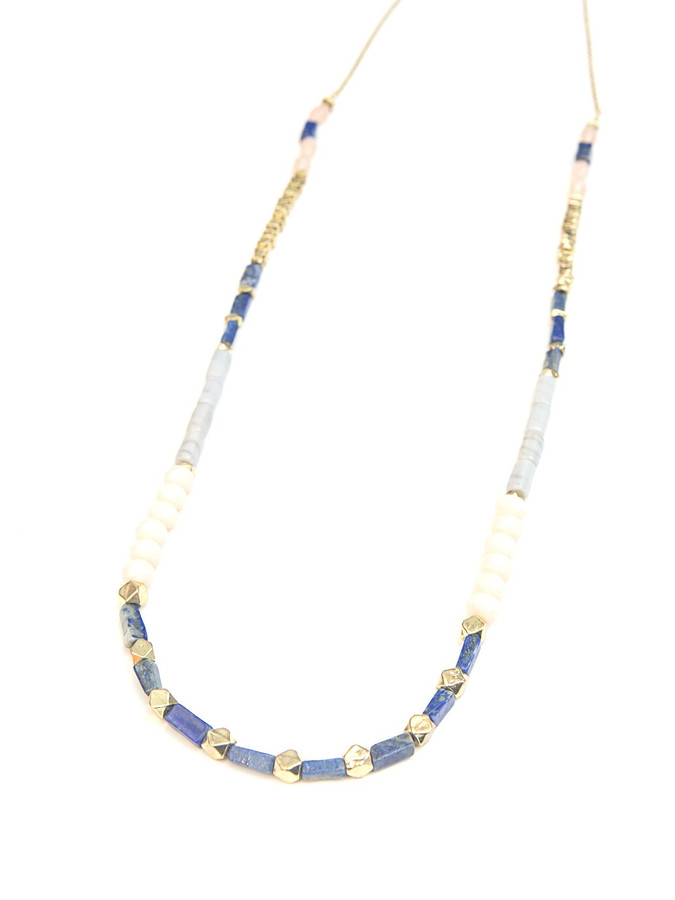 Blue and pink stone bead necklace | Fair Anita